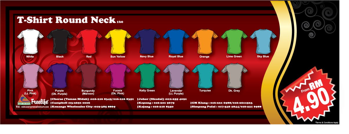 Round neck t shirt supplier malaysia round neck t shirt for T shirt supplier wholesale malaysia
